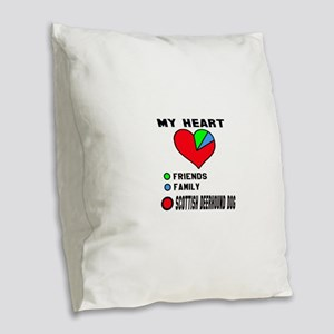 My Heart, Friends, Family, Sco Burlap Throw Pillow