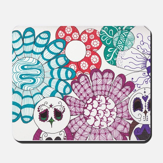 Zentangle Flower and Birds Mousepad