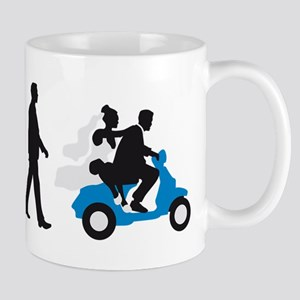 Evolution of man wedding scooter Mugs