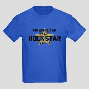 Firefighter RockStar Kids Dark T-Shirt