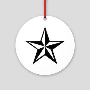 White Punk Nautical Star Ornament (Round)