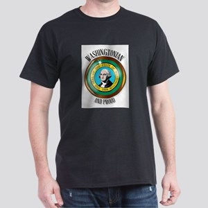 Washington Proud Flag Button T-Shirt