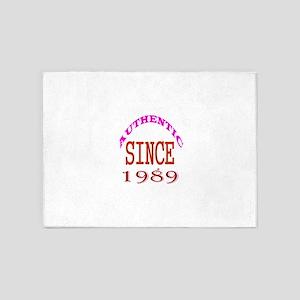 Authentic Since 1989 Birthday Desig 5'x7'Area Rug