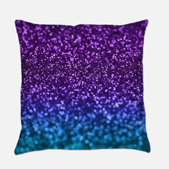 Purple Teal Faux Glitter Ombre Everyday Pillow