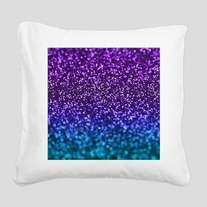 Purple Teal Faux Glitter Ombre Square Canvas Pillo