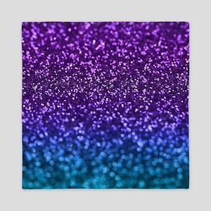 Purple Teal Faux Glitter Ombre Queen Duvet