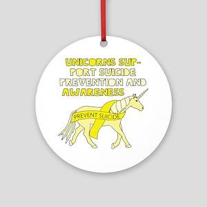 Unicorns Support Suicide Prevention Round Ornament
