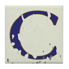 Distressed Blue Letter C Tiles