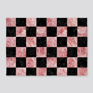 SQUARE1 BLACK MARBLE & RED & WHITE 5'x7'Area Rug