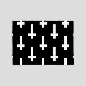 upside down cross 5'x7'Area Rug