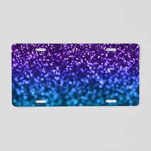 Purple Teal Faux Glitter Ombre Aluminum License Pl