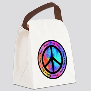 Warped Peace Sign Canvas Lunch Bag