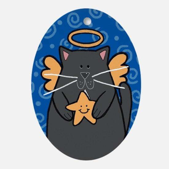 Black Cat Angel Oval Ornament