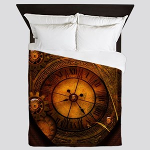 Awesome noble steampunk design, clocks Queen Duvet