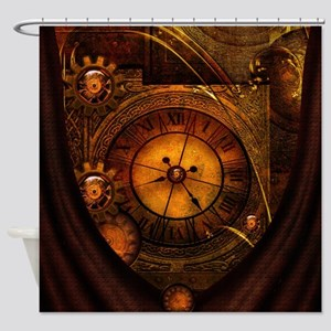 Awesome noble steampunk design, clocks Shower Curt