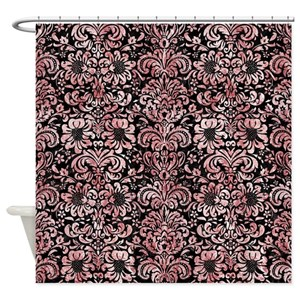 Red And White Damask Shower Curtains