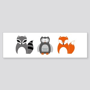 Raccoon, Owl and Fox Trio Bumper Sticker