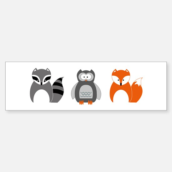 Raccoon, Owl and Fox Trio Bumper Car Car Sticker