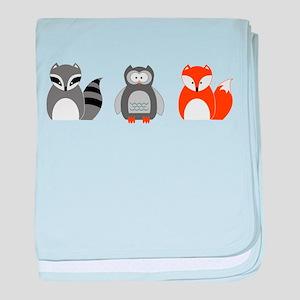 Raccoon, Owl and Fox Trio baby blanket