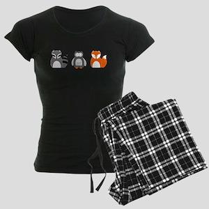 Raccoon, Owl and Fox Trio Women's Dark Pajamas