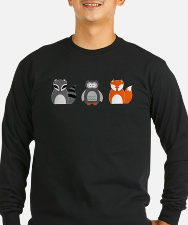 Raccoon, Owl and Fox Trio Long Sleeve T-Shirt