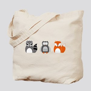 Raccoon, Owl and Fox Trio Tote Bag