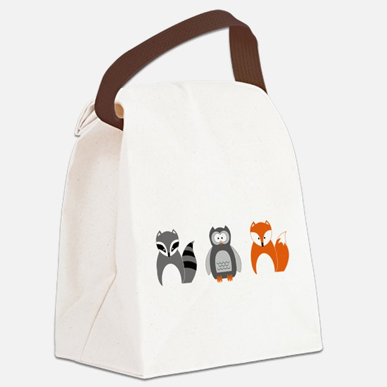 Raccoon, Owl and Fox Trio Canvas Lunch Bag