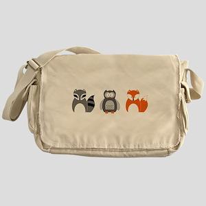 Raccoon, Owl and Fox Trio Messenger Bag