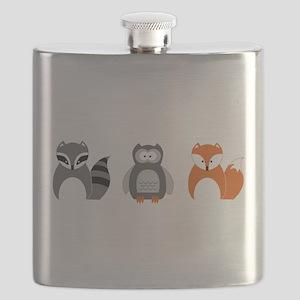 Raccoon, Owl and Fox Trio Flask