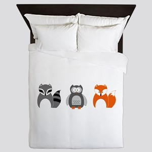 Raccoon, Owl and Fox Trio Queen Duvet