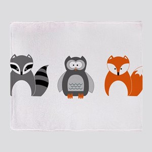 Raccoon, Owl and Fox Trio Throw Blanket