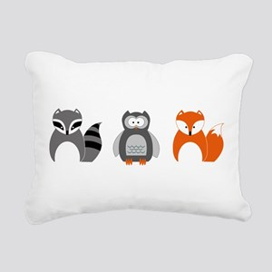 Raccoon, Owl and Fox Tri Rectangular Canvas Pillow