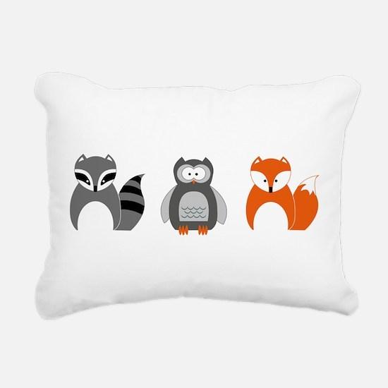 Raccoon, Owl and Fox Tri Rectangular Canvas Pillow