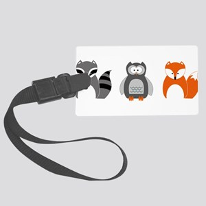 Raccoon, Owl and Fox Trio Large Luggage Tag