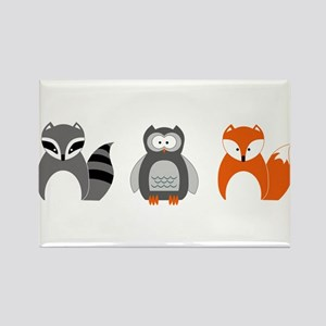 Raccoon, Owl and Fox Trio Magnets