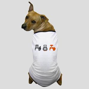 Raccoon, Owl and Fox Trio Dog T-Shirt