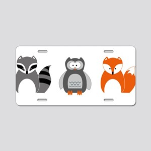 Raccoon, Owl and Fox Trio Aluminum License Plate