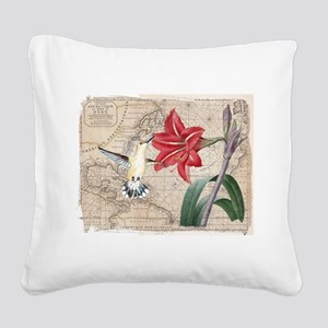 Hummingbird Collage Square Canvas Pillow