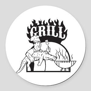 Chef Carry Alligator Grill Cartoon Round Car Magne