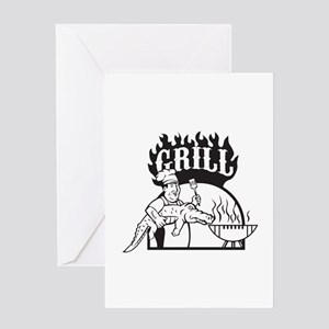 Chef Carry Alligator Grill Cartoon Greeting Cards