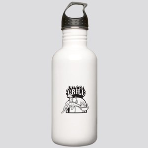 Chef Carry Alligator Grill Cartoon Water Bottle