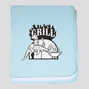 Chef Carry Alligator Grill Cartoon baby blanket