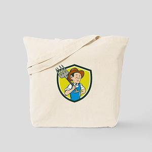 Farmer Holding Pitchfork Shoulder Crest Cartoon To