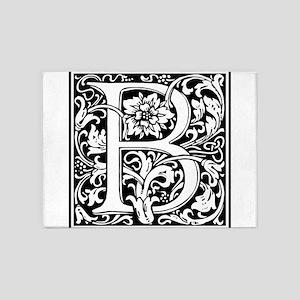 Elegant Vintage Flourish Letter B M 5'x7'Area Rug