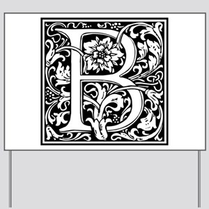 Elegant Vintage Flourish Letter B Monogr Yard Sign