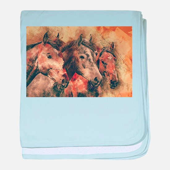 Horses Artistic Watercolor Painting D baby blanket
