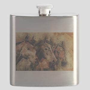 Horses Artistic Watercolor Painting Decorati Flask