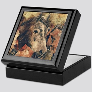 Horses Artistic Watercolor Painting D Keepsake Box