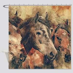 Horses Artistic Watercolor Painting Shower Curtain