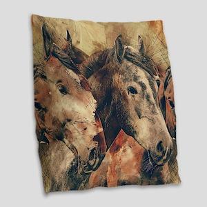 Horses Artistic Watercolor Pai Burlap Throw Pillow